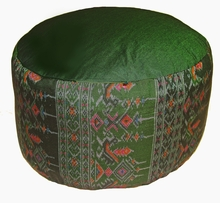 High Seat Zafu Meditation Cushion - Global Ikat Print - Green