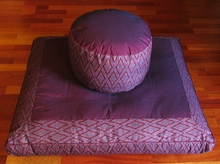 High Seat Zafu & Zabuton Meditation Cushion Set - Burgundy Ikat Print