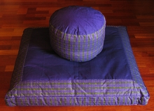 Zafu & Zabuton Meditation Cushion Set - High Seat - Purple/Lime Global Weave