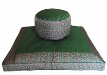 "Round ""High Seat"" Zafu & Zabuton Meditation Cushion Set - Green Ikat Print"