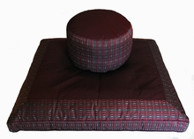 Zafu & Zabuton Meditation Cushion Set - High Seat - Burgundy/Gray Global Weave