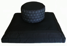 Zabuton & hight Seat Zafu Meditation Cushion Set - Black Ikat Print