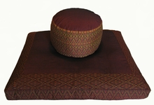 Zafu & Zabuton Meditation Cushion Set - High Seat - Golden Brown Ikat