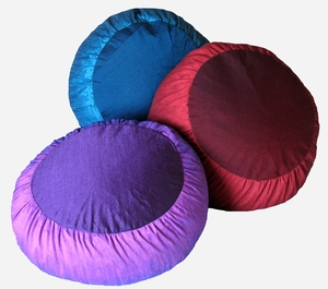 "Zafu Meditation Cushion - Round ""Rain Silk"" Fabric"