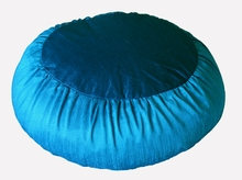 Zafu Meditation Cushion - Round Rain Silk -  Teal Blue