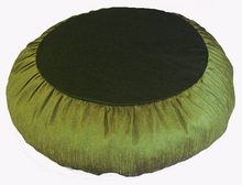Zafu Meditation Cushion - Round Rain silk - Olive Green