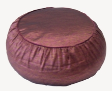 Zafu Meditation Cushion - Round Rain Silk - Plum