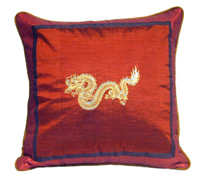 Silk Throw Pillow - Embroidered Dragon