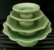 Celadon Pedestal Serving Dishes - Set of Four