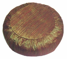 Zafu Meditation Cushion - Round - Hand Loomed Silk, - Iridescent Copper