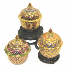 Hand Painted Benjarong Covered Jars
