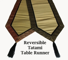 "Tatami Table Runner - 96"" Reversible w/Silk Brocade Trim"