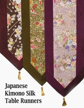 Table Runners or Wall Hangings - Limited Edition Japanese Kimono Silk Prints - Embossed w/Gold Lines