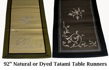 "Tatami Table Runner - 92"" x 16"" - Embrodered Thai Design in Silver Silk"