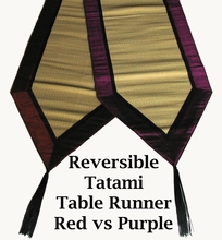 "Tatami Table Runner - 96"" Reversible  w/Silk-Blend Fabric Trim"