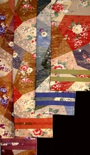 Reversible Table Runner or Wall Hanging - Contemporary Japanese Silk Floral Prints w/Gold Accents