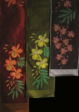"Table Runner or Wall Hanging - ""Exotic Orchids"" Hand Pinted and Beaded"