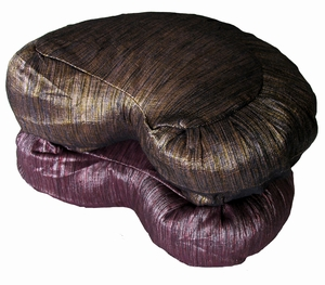 Meditation Cushion - Crescent Zafu - Hand Loomed Silk Silk