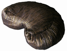 Crescent Zafu Meditation Cushion - Hand Loomed Silk, Luminous Beige