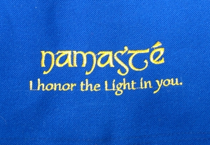 "Yoga/Gym/Meditation/Computer Messenger Bag  - Blue ""Namaste"""