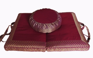 "Round Zafu & Folding Zabuton Meditation Cushion Set - Magenta ""Jewel"" Brocade"