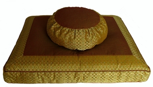 Round Zafu  & Zabuton Meditation Cushion Set - Saffron Brocade