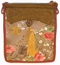 Flat Shoulder Bag-Brown Floral