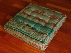 "Square Tufted Floor Pillow - ""Elephants"" - Green/Teal"