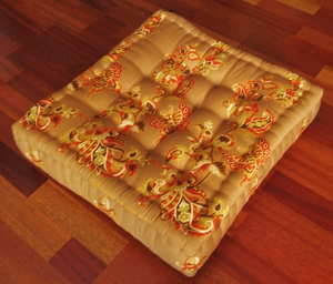 "Tufted Floor Pillow - ""Sukhothai"" Limited Edition Cotton Print - Gold Butterflies"