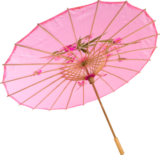 Pink Silk Parasol With Wood Handle