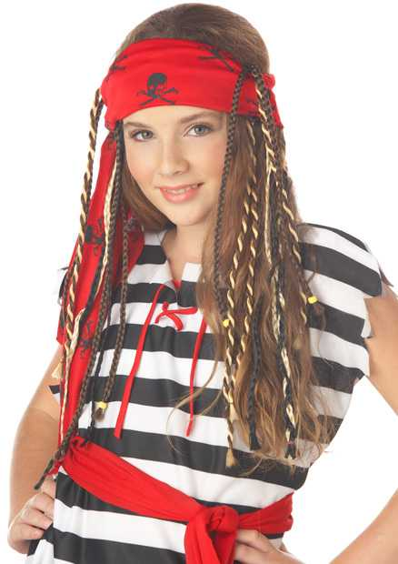 Girl's Buccaneer Pirate Wig With Braids
