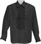 Black Ruffled Tuxedo Shirt Theater Costume