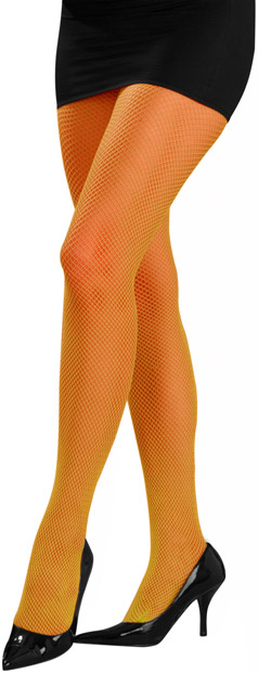 Woman's Orange Neon Fishnet Pantyhose