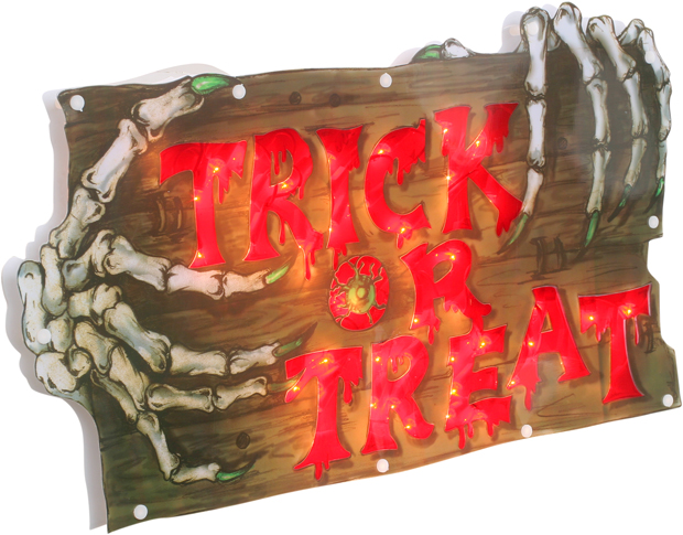 Lighted Trick Or Treat Halloween Sign