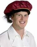 Adult Burgundy Feathered Prince Hat