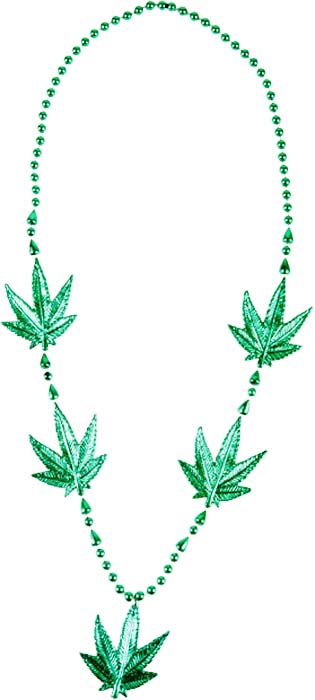 Metallic Green Pot Leaf Necklace