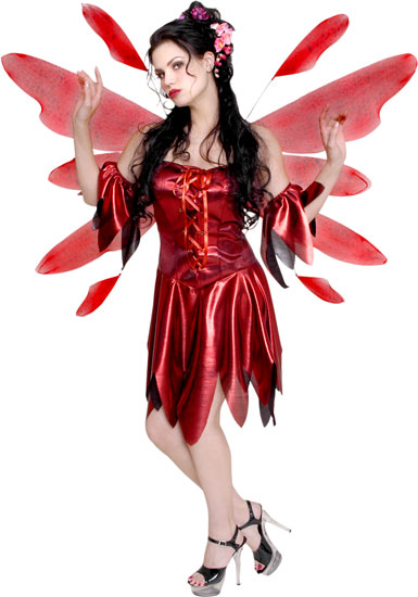 Red Nymph Fairy w/ Wings Costume