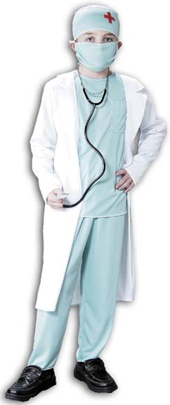Child's Doctor Scrubs and Coat Costume