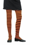 Child's Black & Orange Striped Tights Size: One Size
