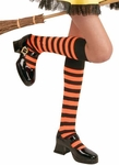 Girl's Black & Orange Knee High Striped Socks
