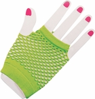Woman's Short Neon Green Fingerless Fishnet Gloves