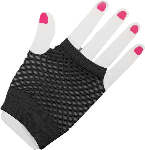 Woman's Short Black Fingerless Fishnet Gloves