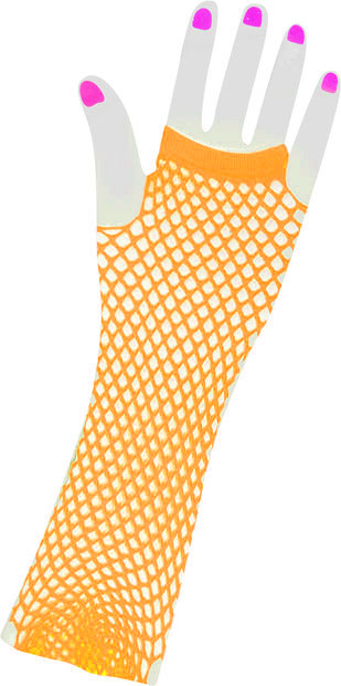Woman's Long 80s Style Orange Neon Fishnet Gloves