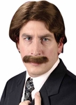 Men's 70s Style Wig And Mustache Set