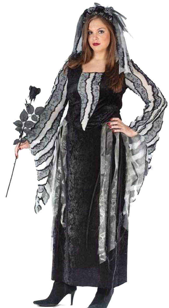 Women's Plus Size Black Rose Costume