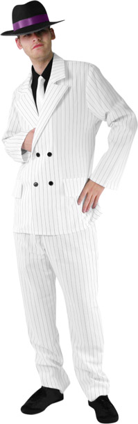 Men's White Gangster Suit Costume