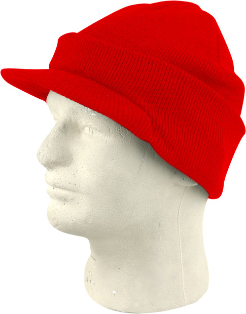 Red Cuffed Visor Beanie Hat