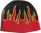 Red Beanie Cap with Flames