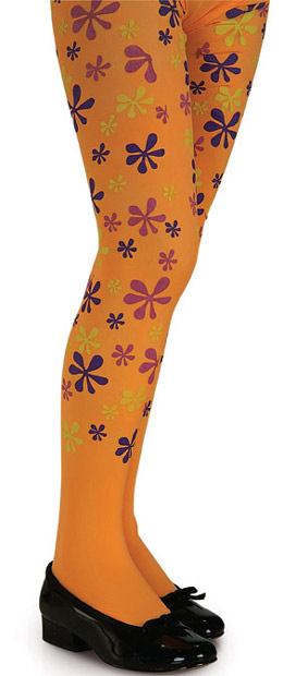 Child's Orange Flower Power Tights