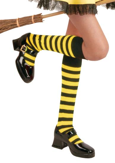 Girl's Black & Yellow Knee High Striped Socks